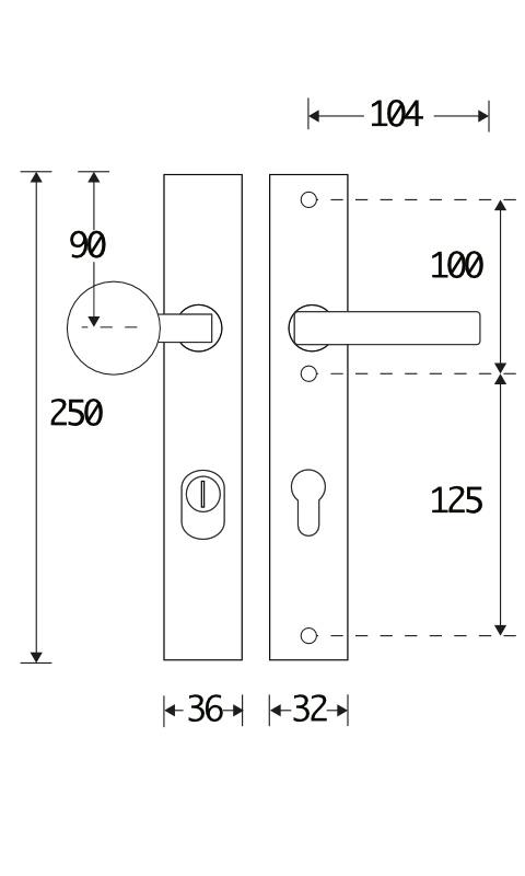 312.0078.07 Haustür Langschildgarnitur im 20er Jahre Stil Knauf/Klinke mit Kernziehschutz Messing pulverbeschichtet schwarz  72L