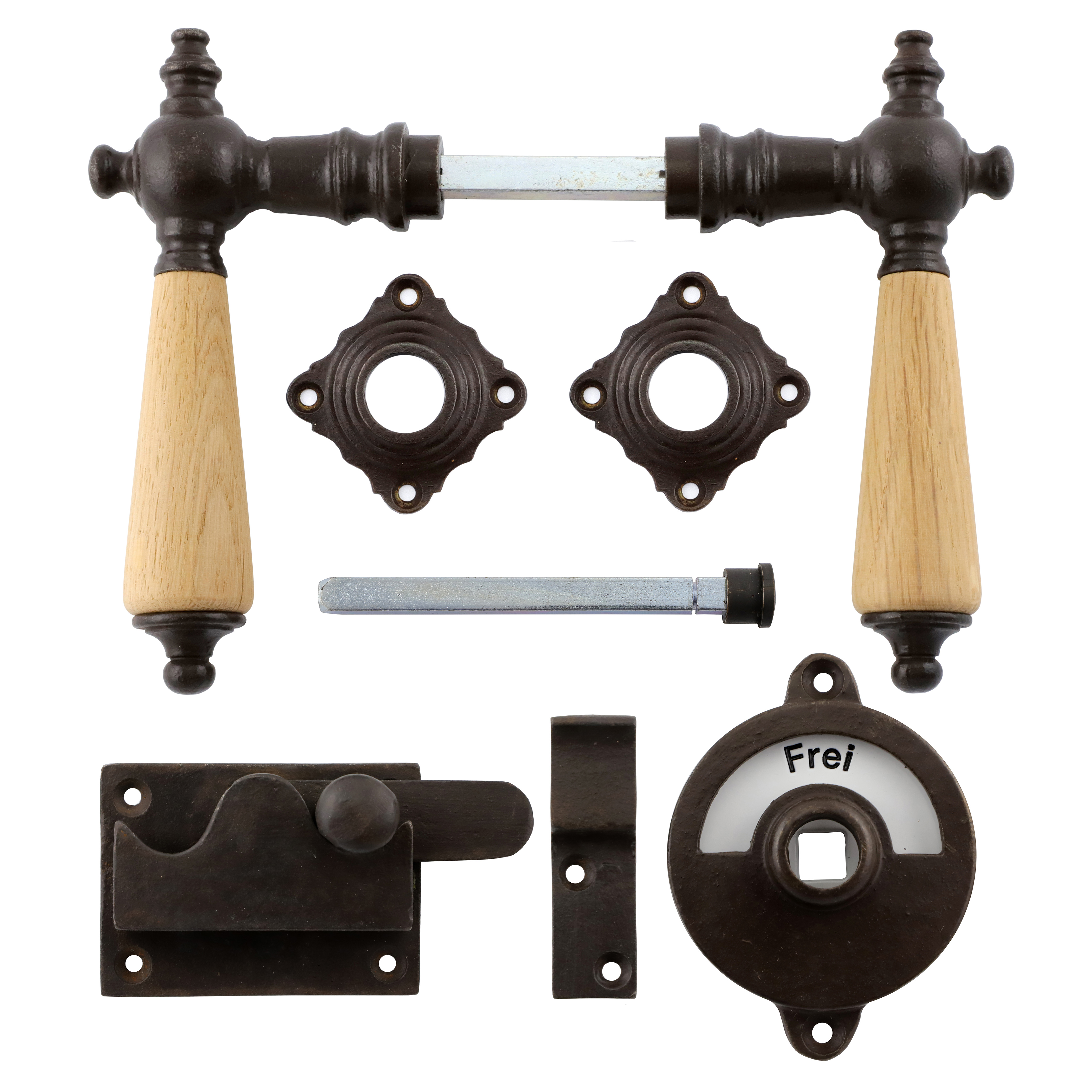 341.0031.60 WC-Türbeschlag / Riegel gerade / Verschluss mit Anzeige Eisen antik