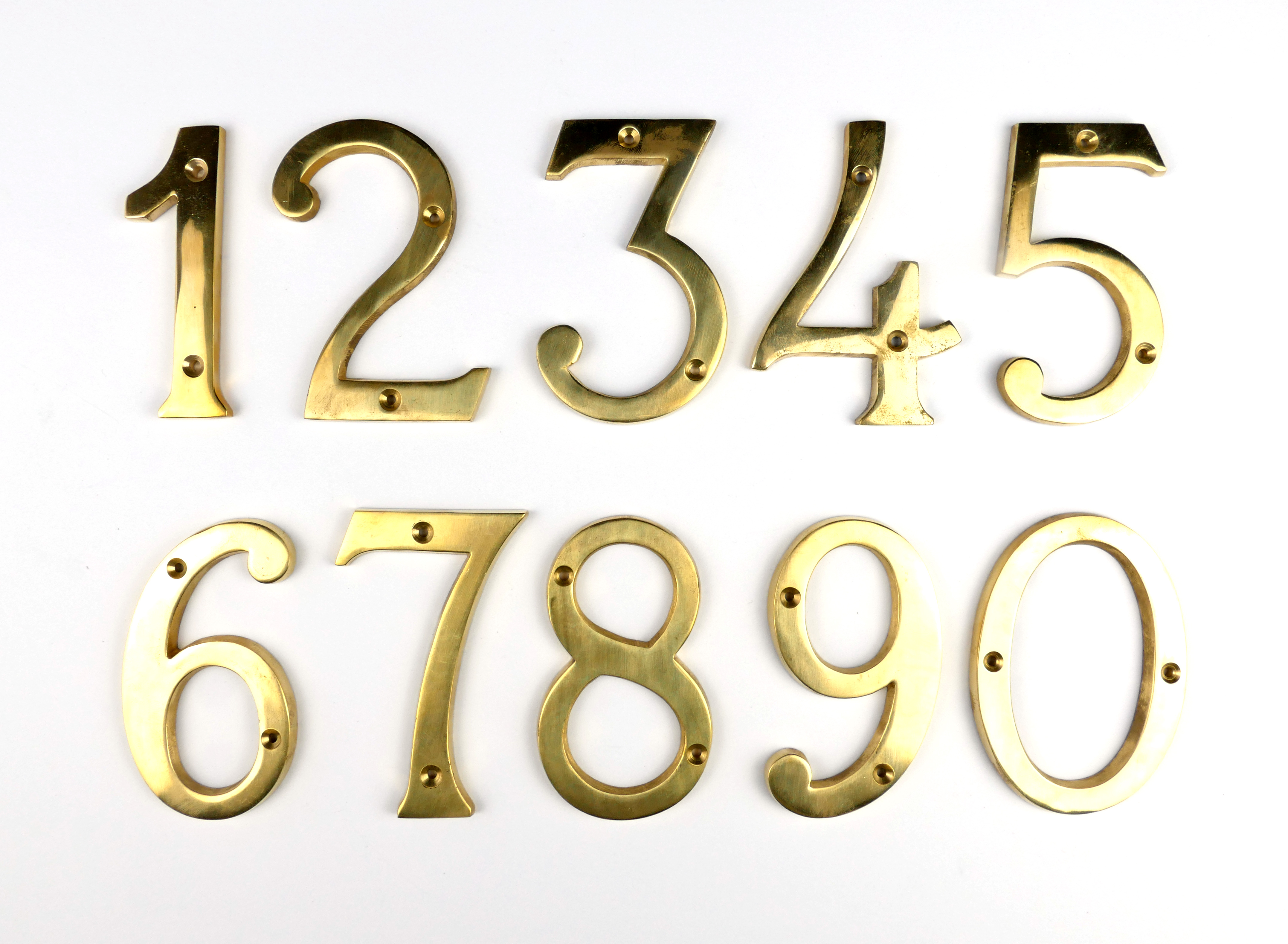 Hausnummer Zimmernummer Messing poliert