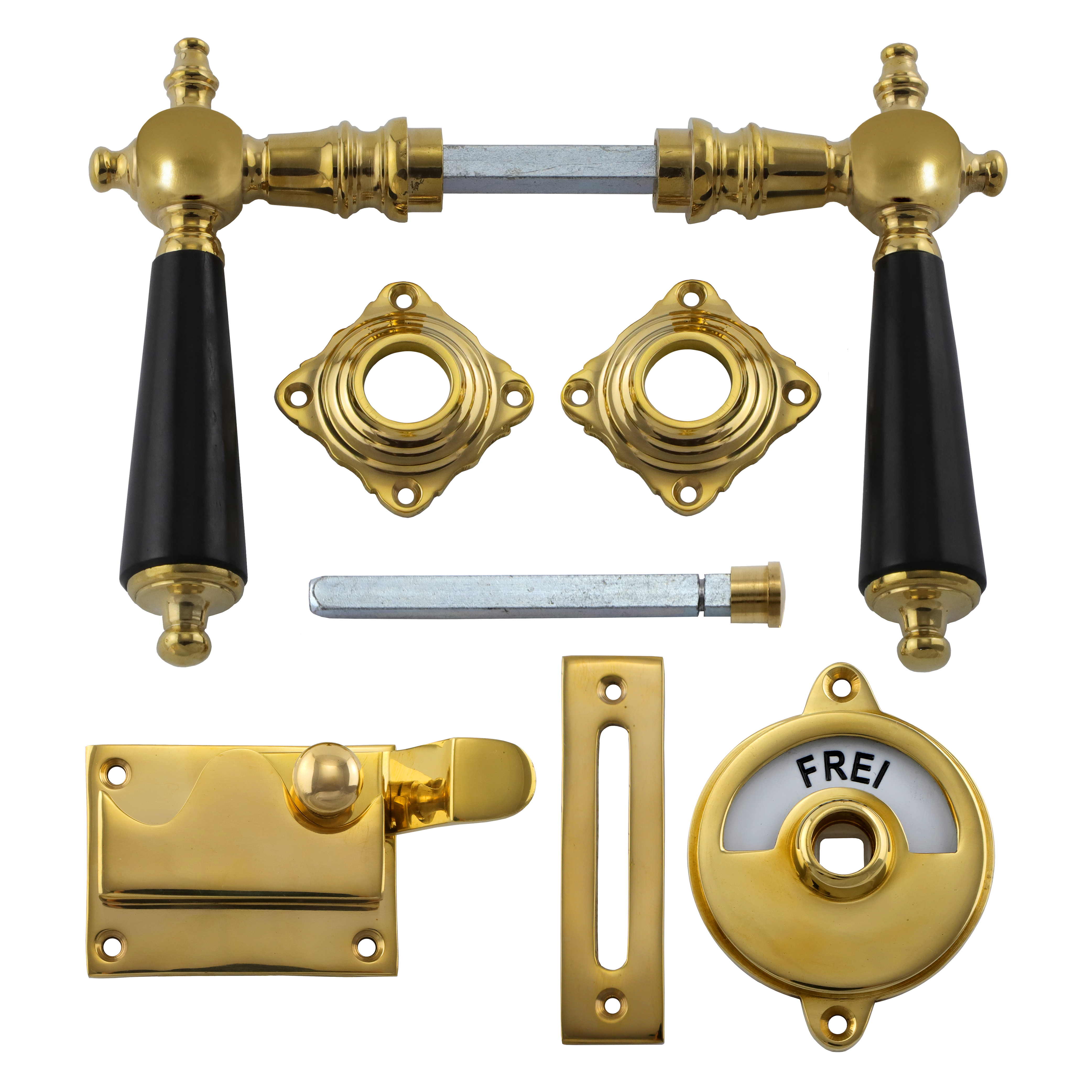341.0015.35 WC-Türbeschlag / Riegel gekröpft / Verschluss mit Anzeige Messing poliert