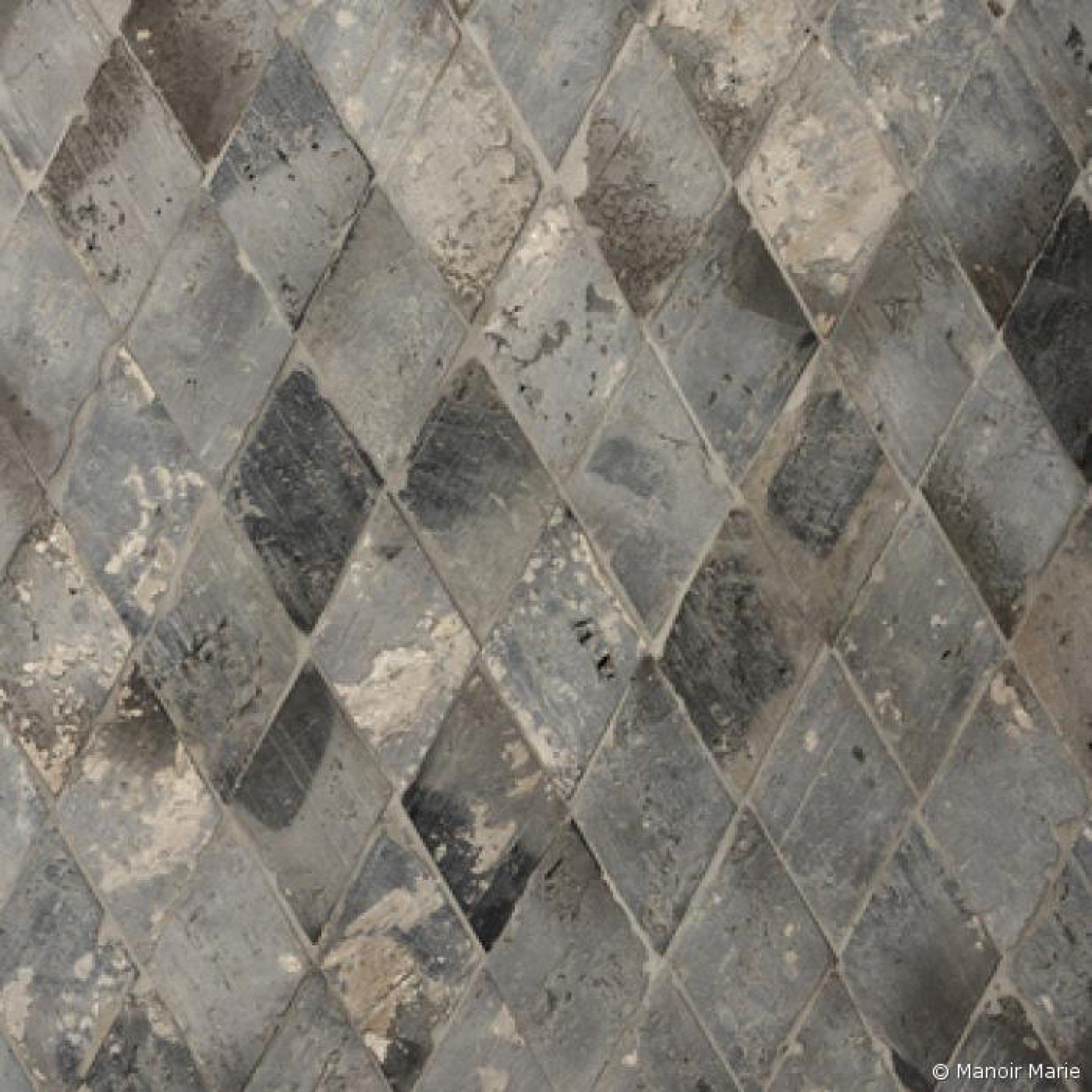 13.0003.18 alte Terrakotta Diamant grau-blau