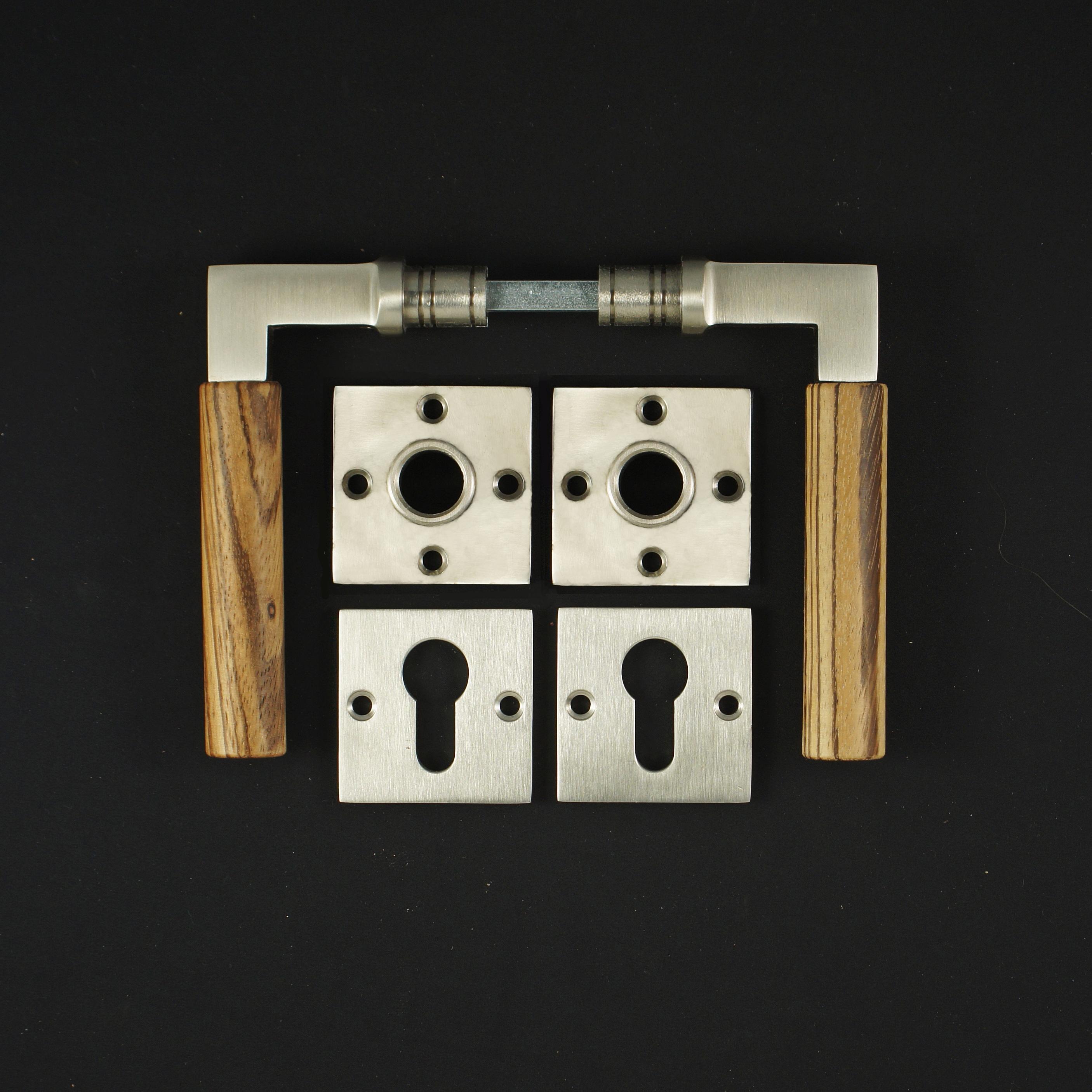 Zimmertür Rosettengarnitur PZ im Bauhaustil - antike Türdrücker, Türklinken, Türbeschläge