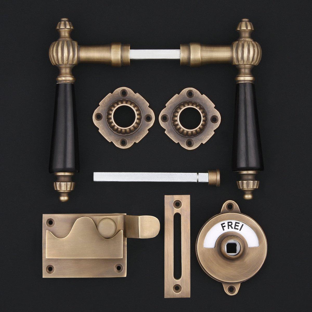 341.0054.45 WC-Zimmertür Rosettengarnitur, Holz- antike Türdrücker, Türklinken, Türbeschläge