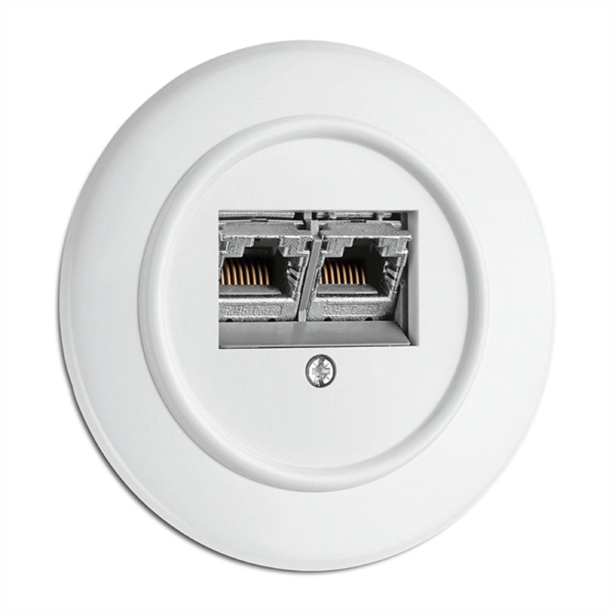 Datendose, Unterputz-Schaltersystem Duroplast weiß mit runder Abdeckung