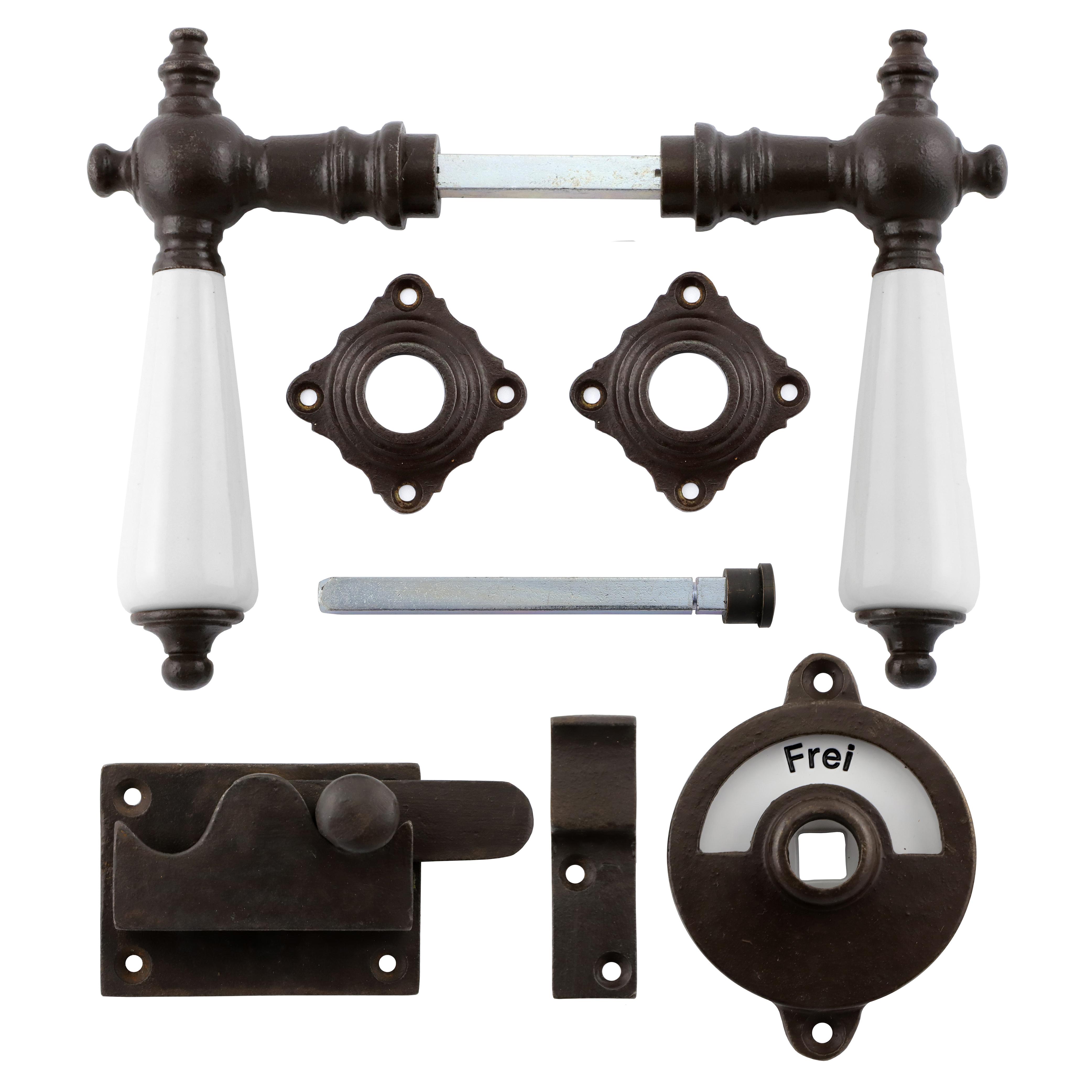 341.0032.60 WC-Türbeschlag / Riegel gerade / Verschluss mit Anzeige Eisen antik