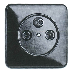 Antennensteckdose SAT Bakelit, Unterputz-Schaltersystem schwarz mit eckiger Abdeckung