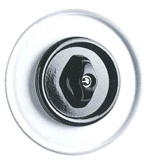 Drehschalter Wechsel, Unterputz-Schaltersystem Glas mit Bakelit schwarz