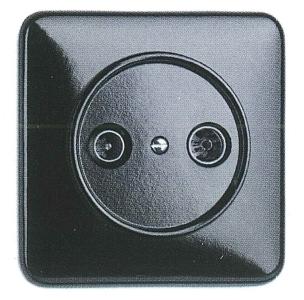 Antennensteckdose Kabel Bakelit, Unterputz-Schaltersystem schwarz mit eckiger Abdeckung