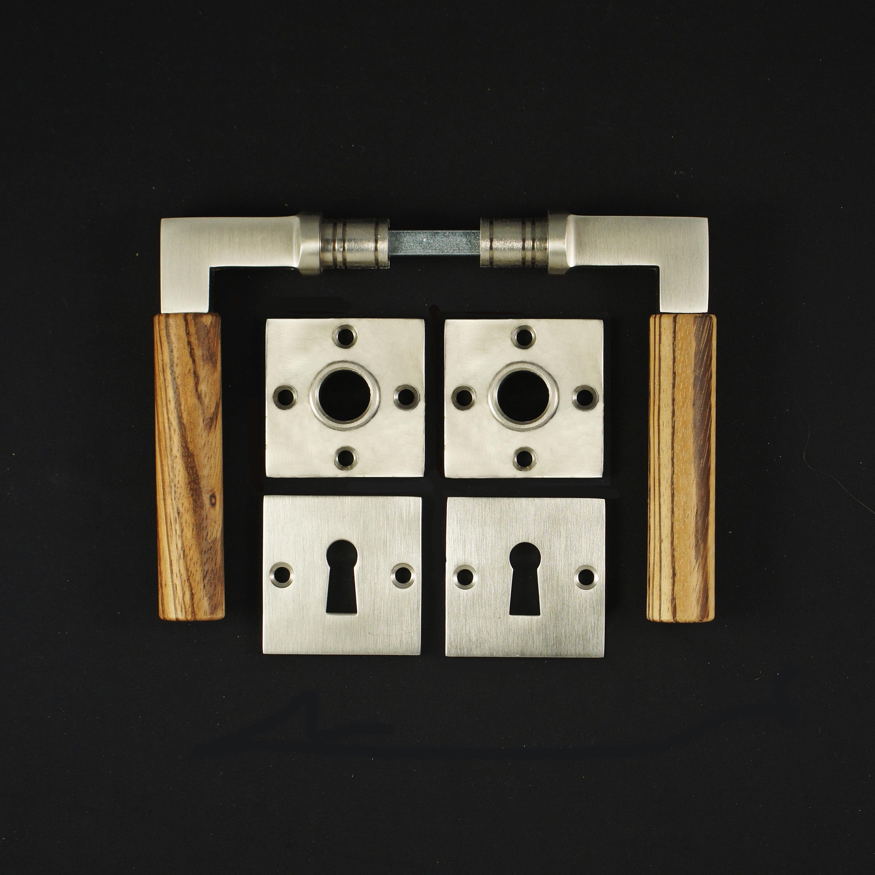 Zimmertür Rosettengarnitur BB im Bauhaustil - antike Türdrücker, Türklinken, Türbeschläge
