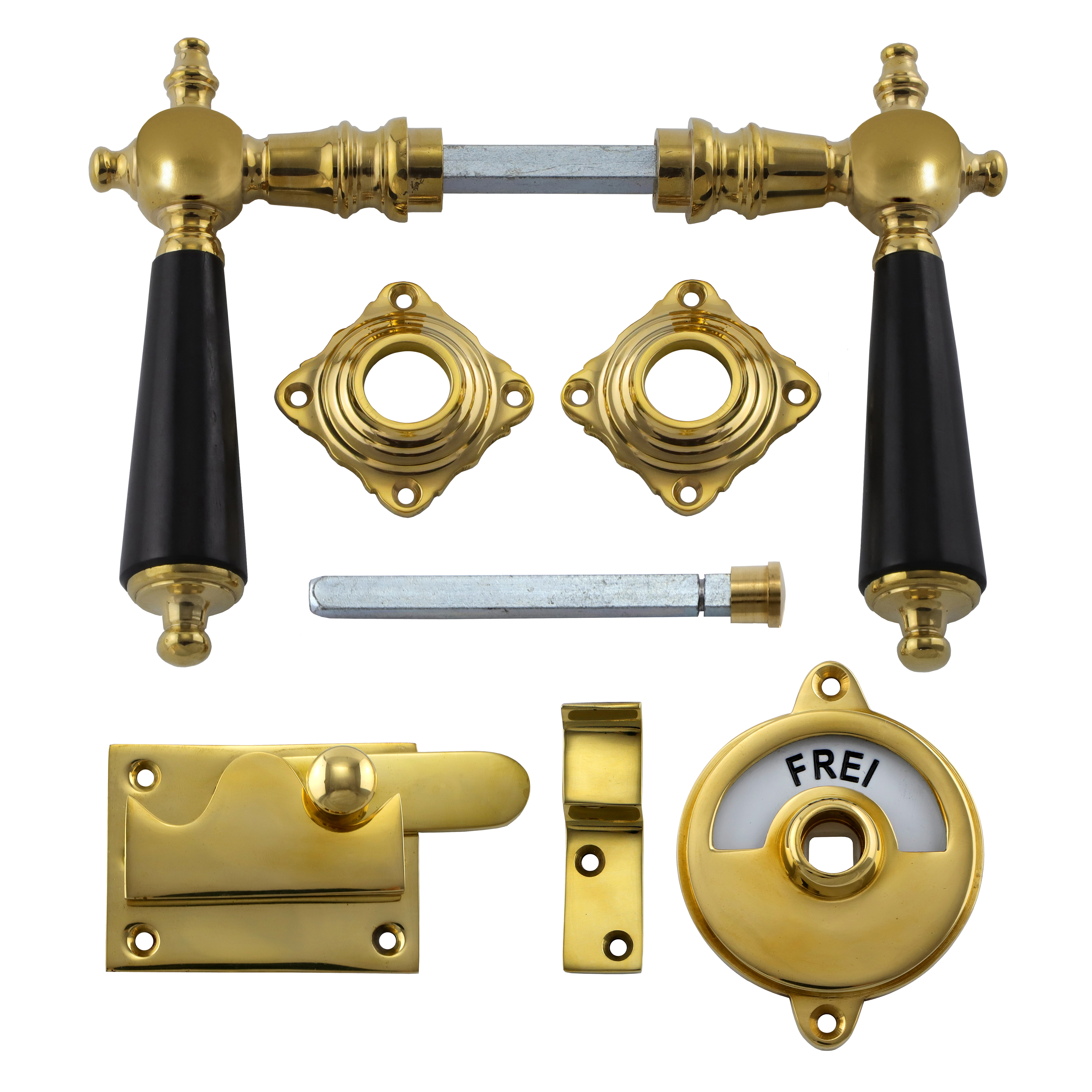341.0012.35 WC-Türbeschlag / Riegel gerade / Verschluss mit Anzeige Messing poliert