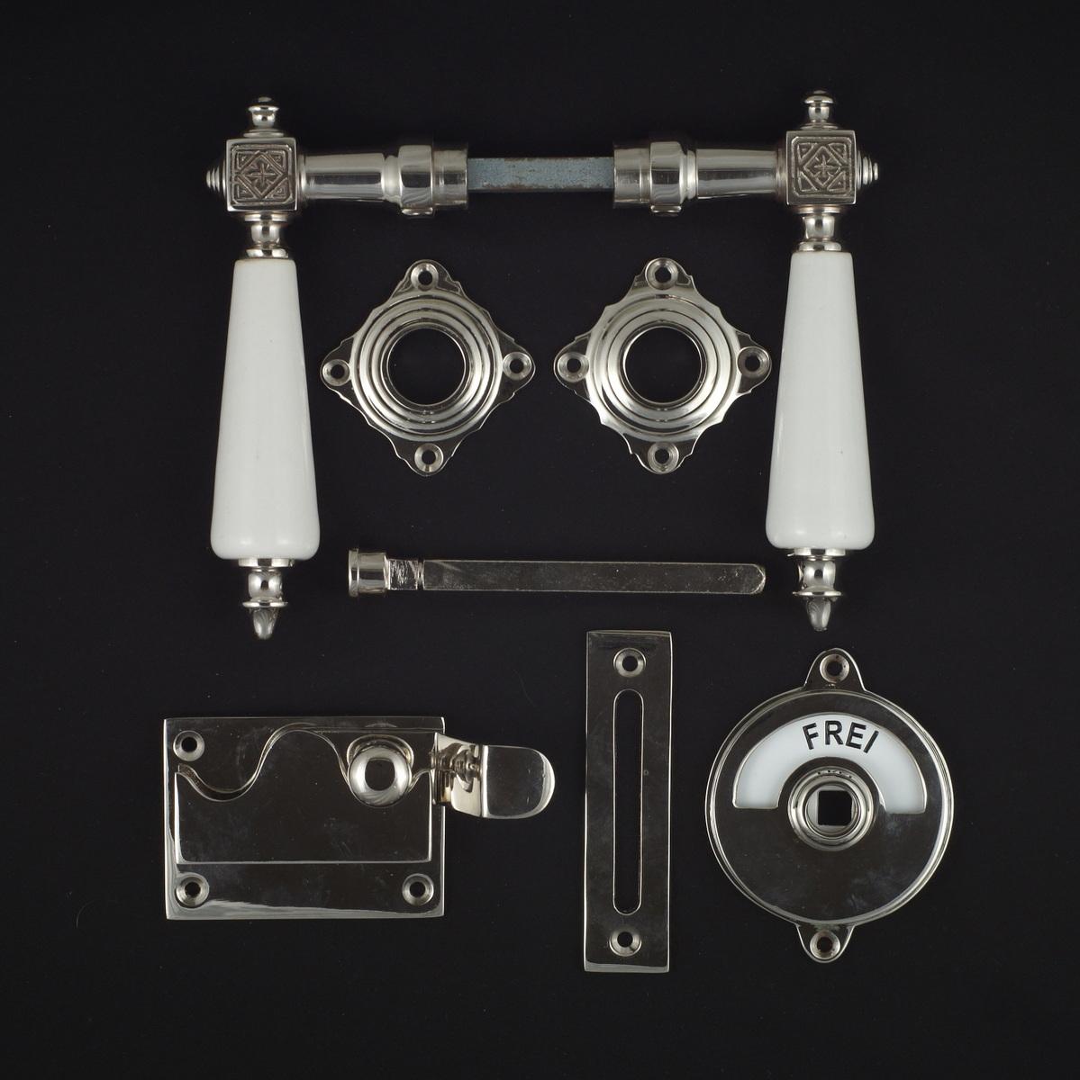 341.0256.10 WC-Zimmertür Rosettengarnitur - antike Türdrücker, Türklinken, Türbeschläge