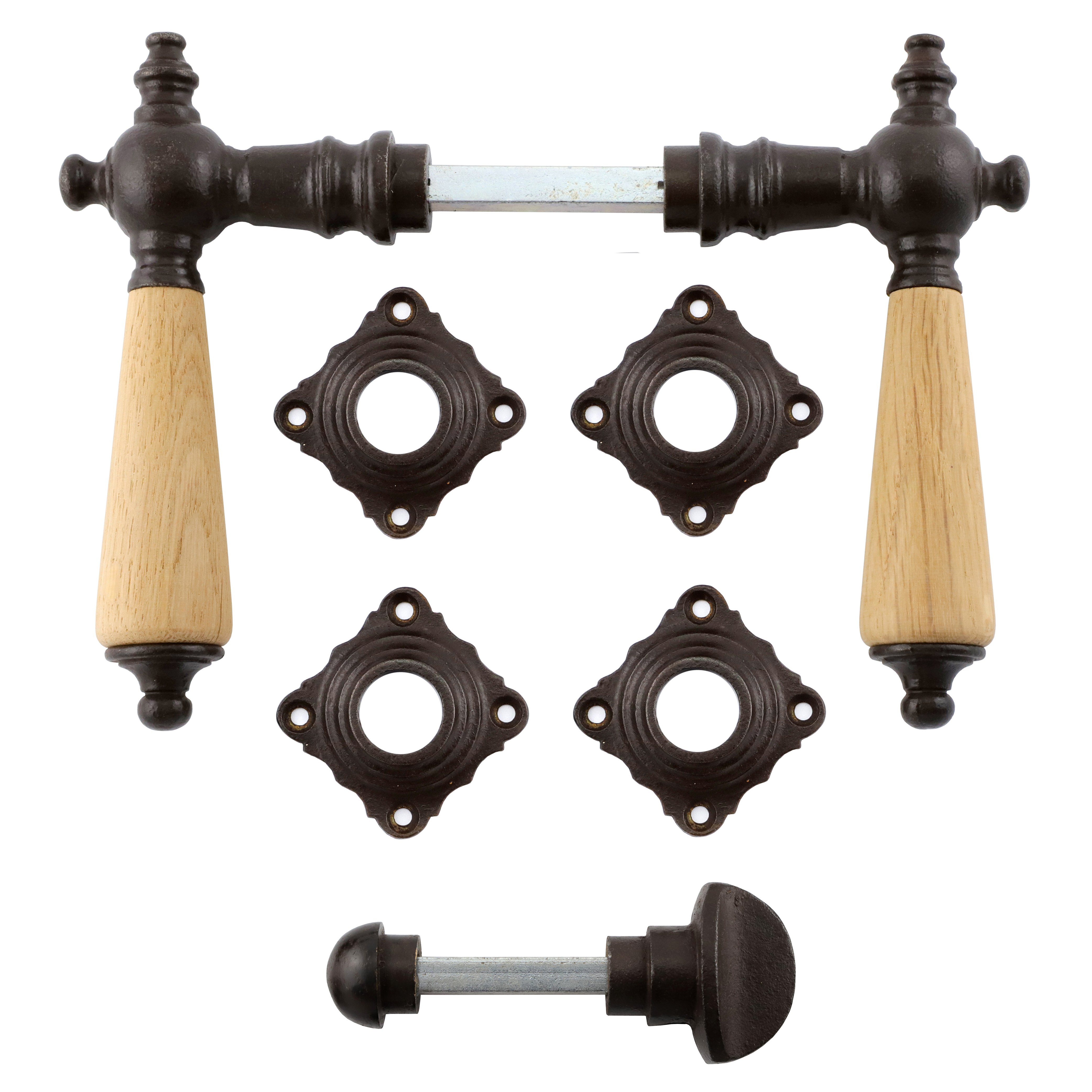 341.0028.60 WC-Türbeschlag mit Dreher / Drehknauf Eisen antik Eichenholz