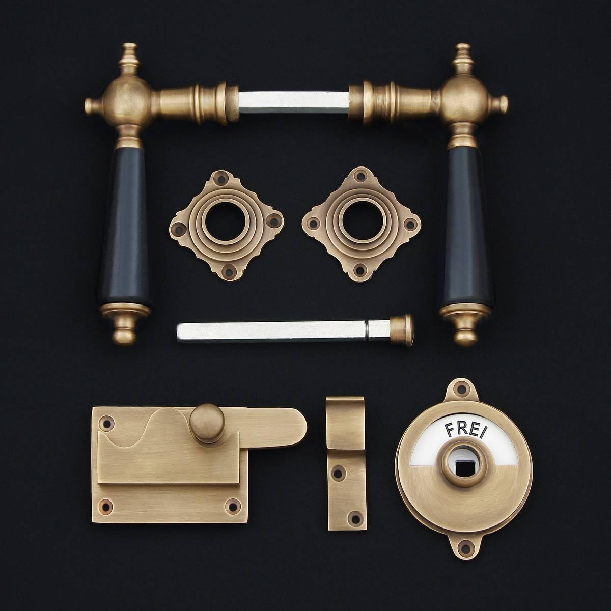 WC-Zimmertür Rosettengarnitur, Holz - antike Türdrücker, Türklinken, Türbeschläge