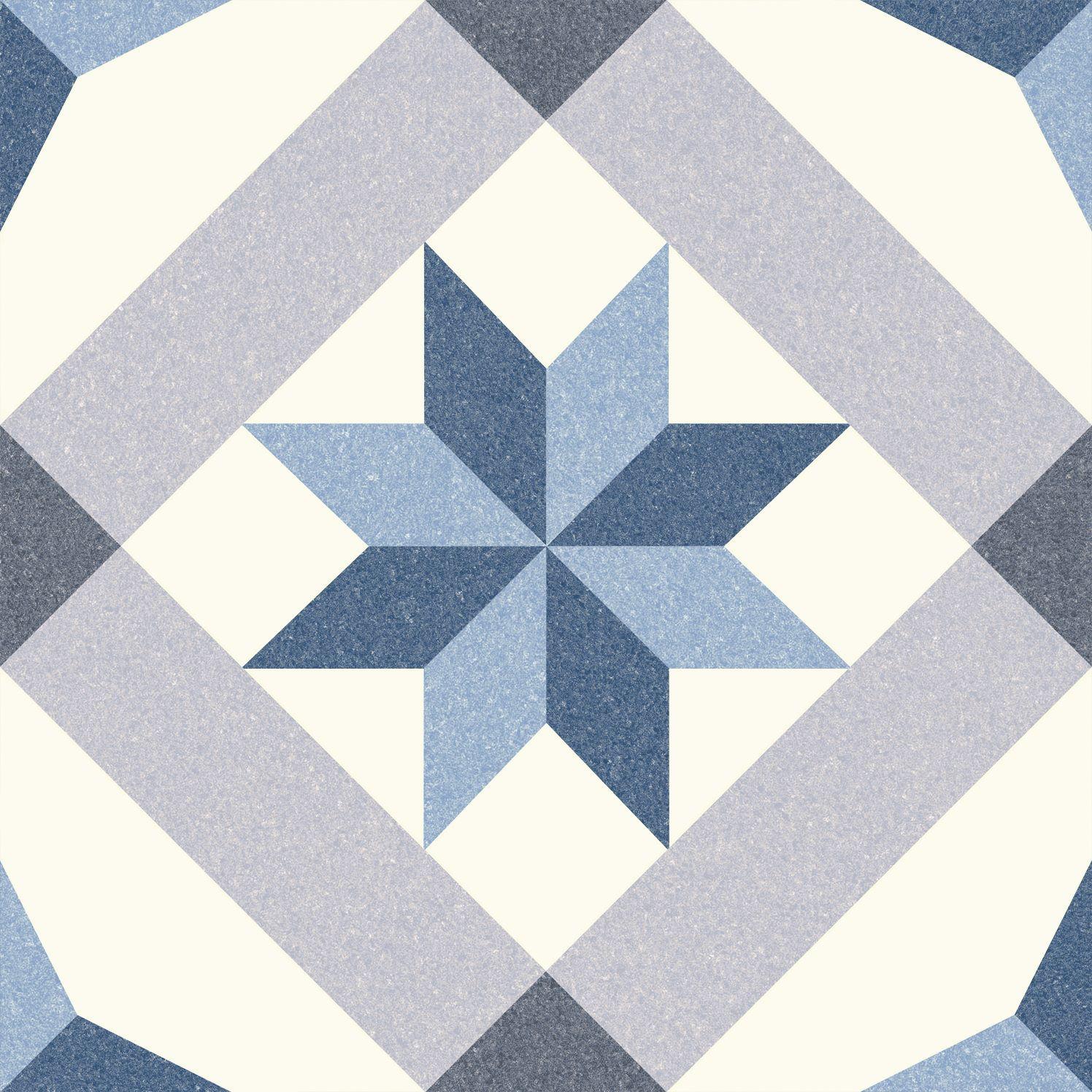 6.0005.21  Codicer Retrofliese / Feinsteinzeug MENTON BLUE