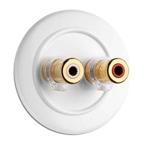 900.0001.DW Lautsprecheranschlußdose WBT nextgen, Unterputz-Schaltersystem Duroplast weiß mit runder Abdeckung