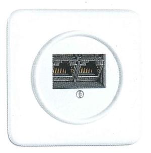 Datendose, Unterputz-Schaltersystem Duroplast weiß mit eckiger Abdeckung