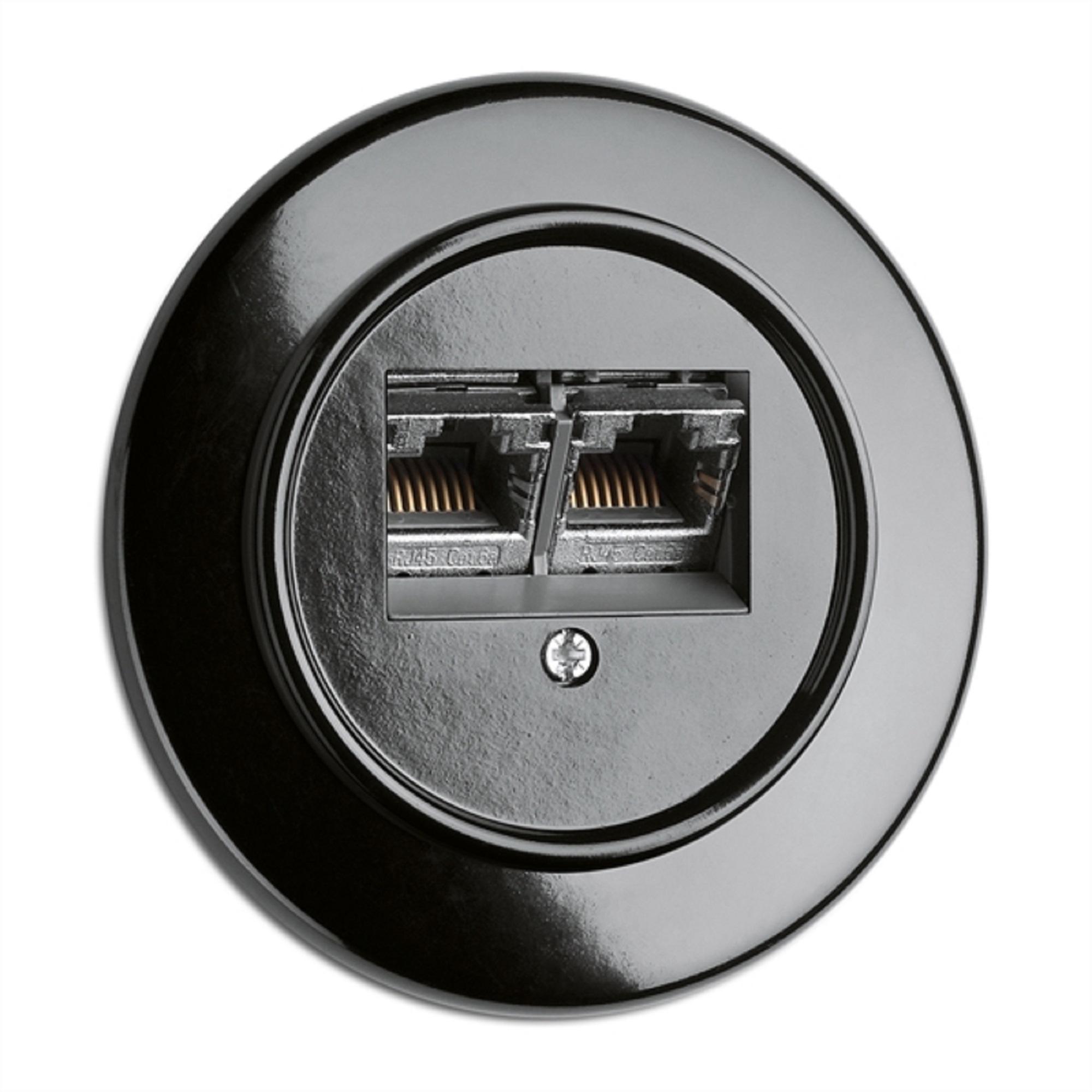 Datendose, Unterputz-Schaltersystem Bakelit schwarz mit runder Abdeckung