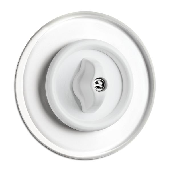 900.0014.GDW  Drehschalter Wechsel Duroplast weiß mit Glasabdeckung