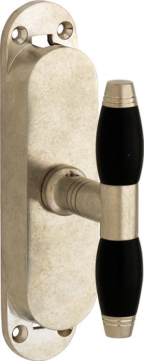 430.0004.15 Basquille Fenstergetriebe Jugendstil Stil Messing vernickelt matt antik Look
