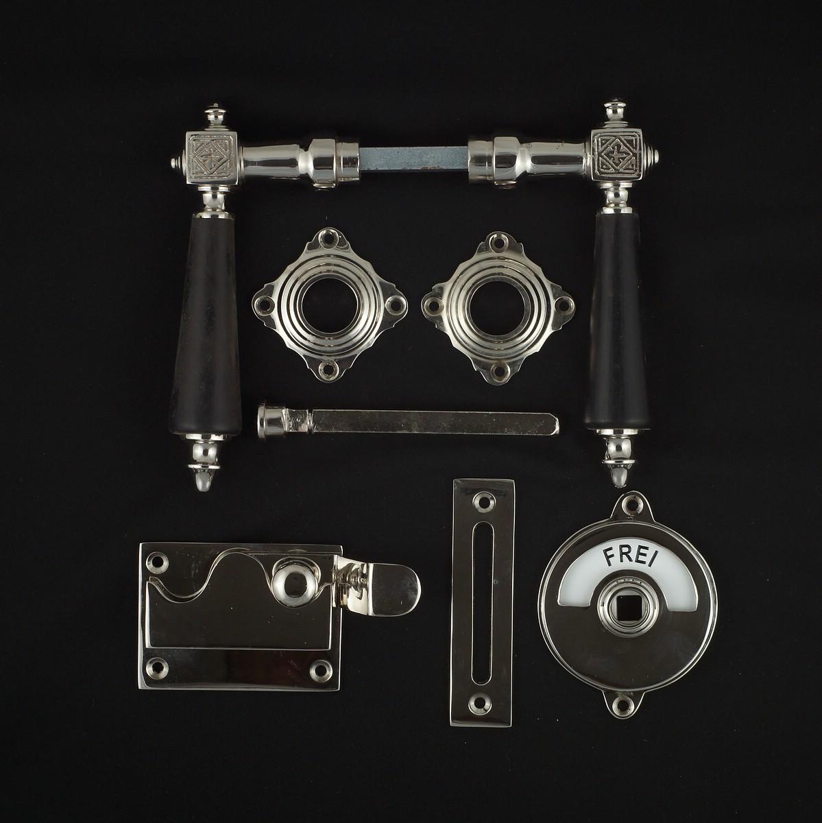 341.0246.10  WC-Zimmertür Rosettengarnitur - antike Türdrücker, Türklinken, Türbeschläge