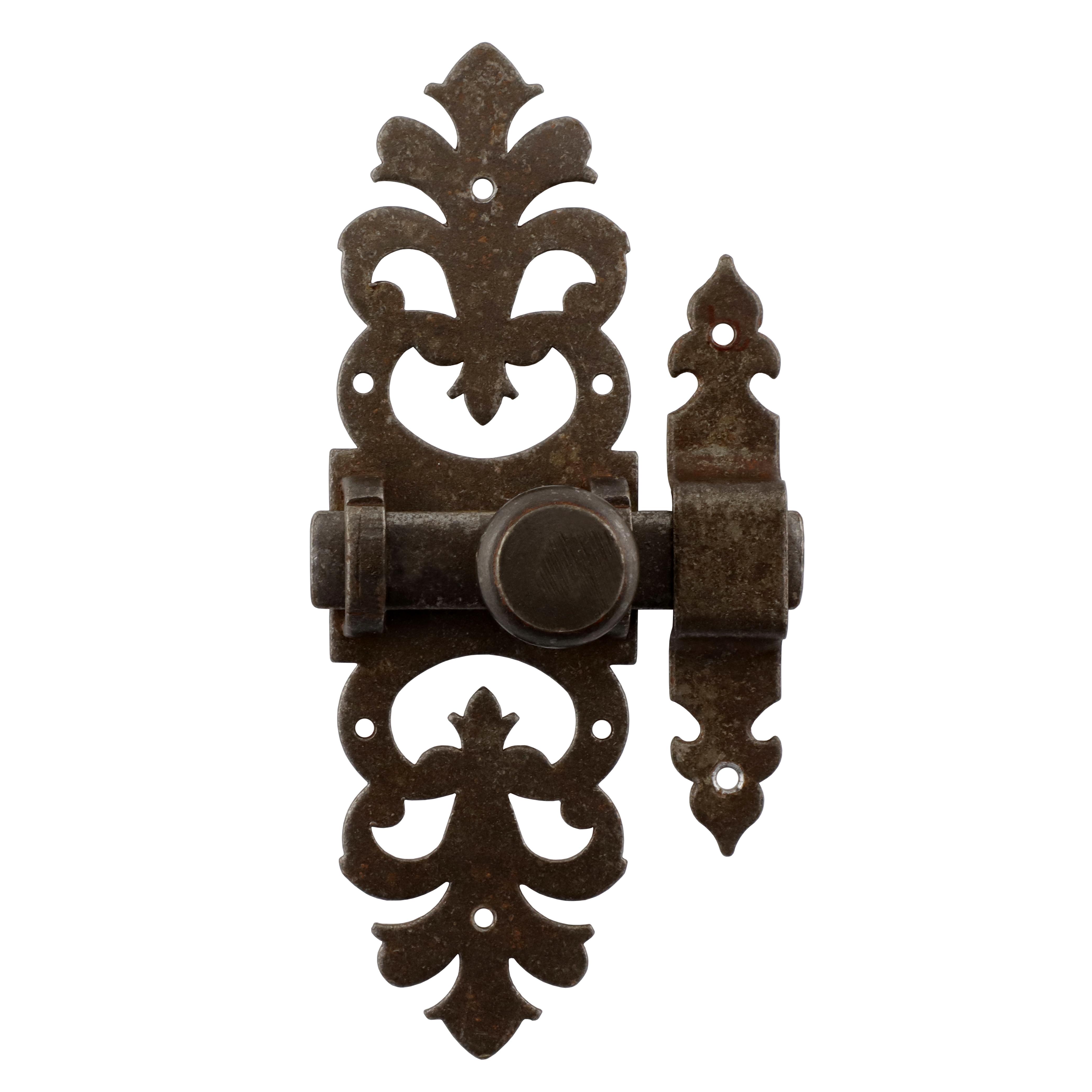 318.0026.60 Schieberiegel mit Falle Renaissance Eisen antik