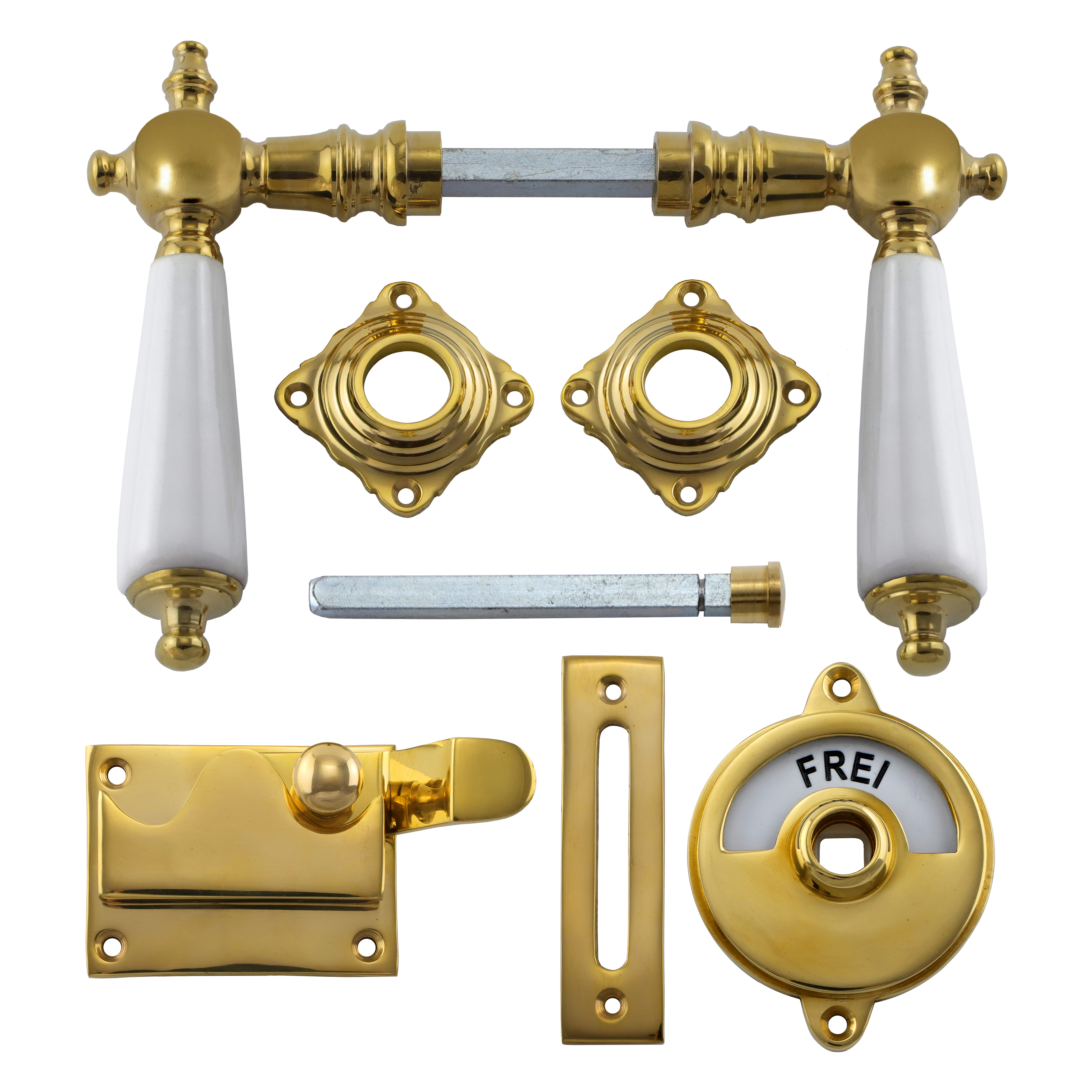 341.0014.35 WC-Türbeschlag / Riegel gekröpft / Verschluss mit Anzeige Messing poliert