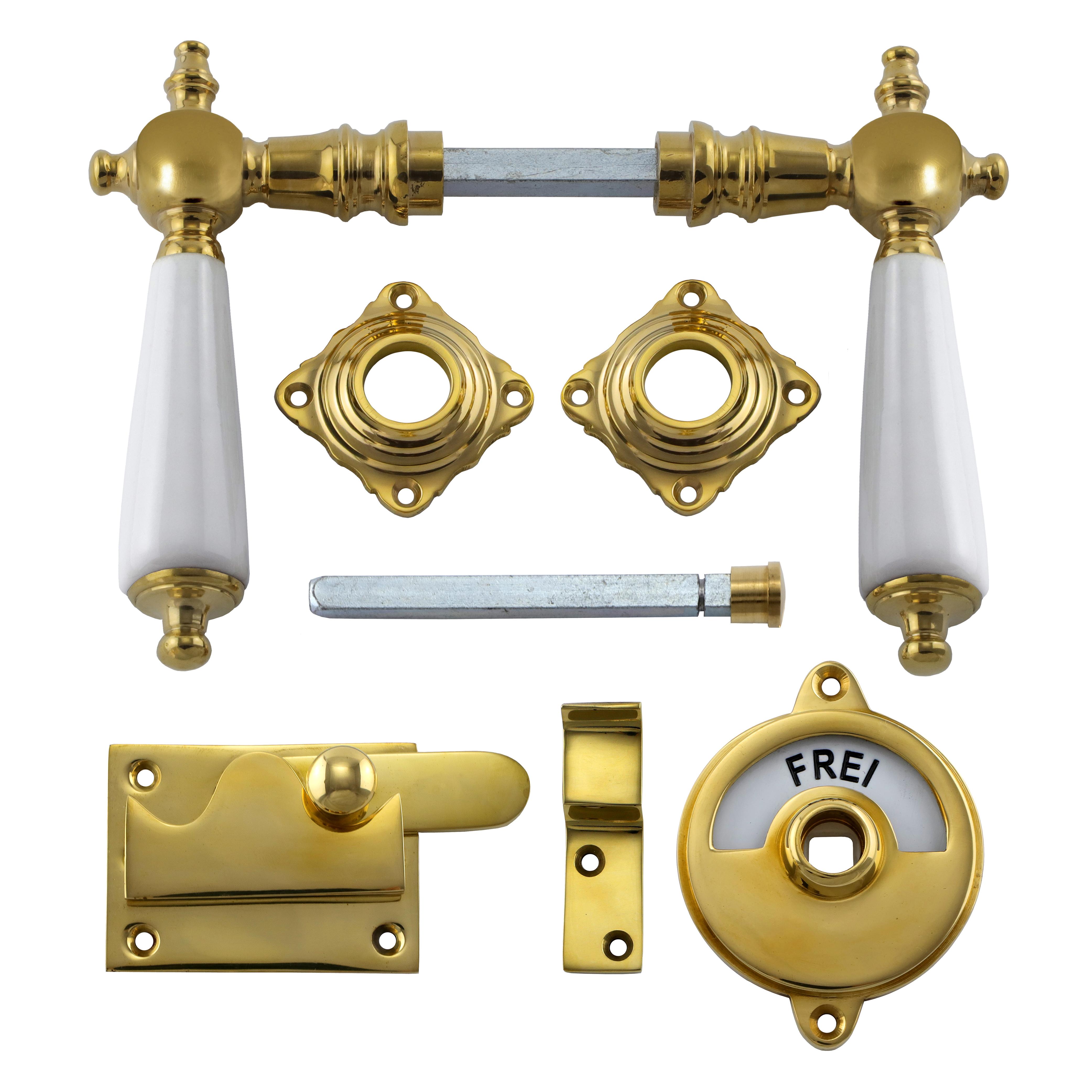 341.0011.35 WC-Türbeschlag / Riegel gerade / Verschluss mit Anzeige Messing poliert