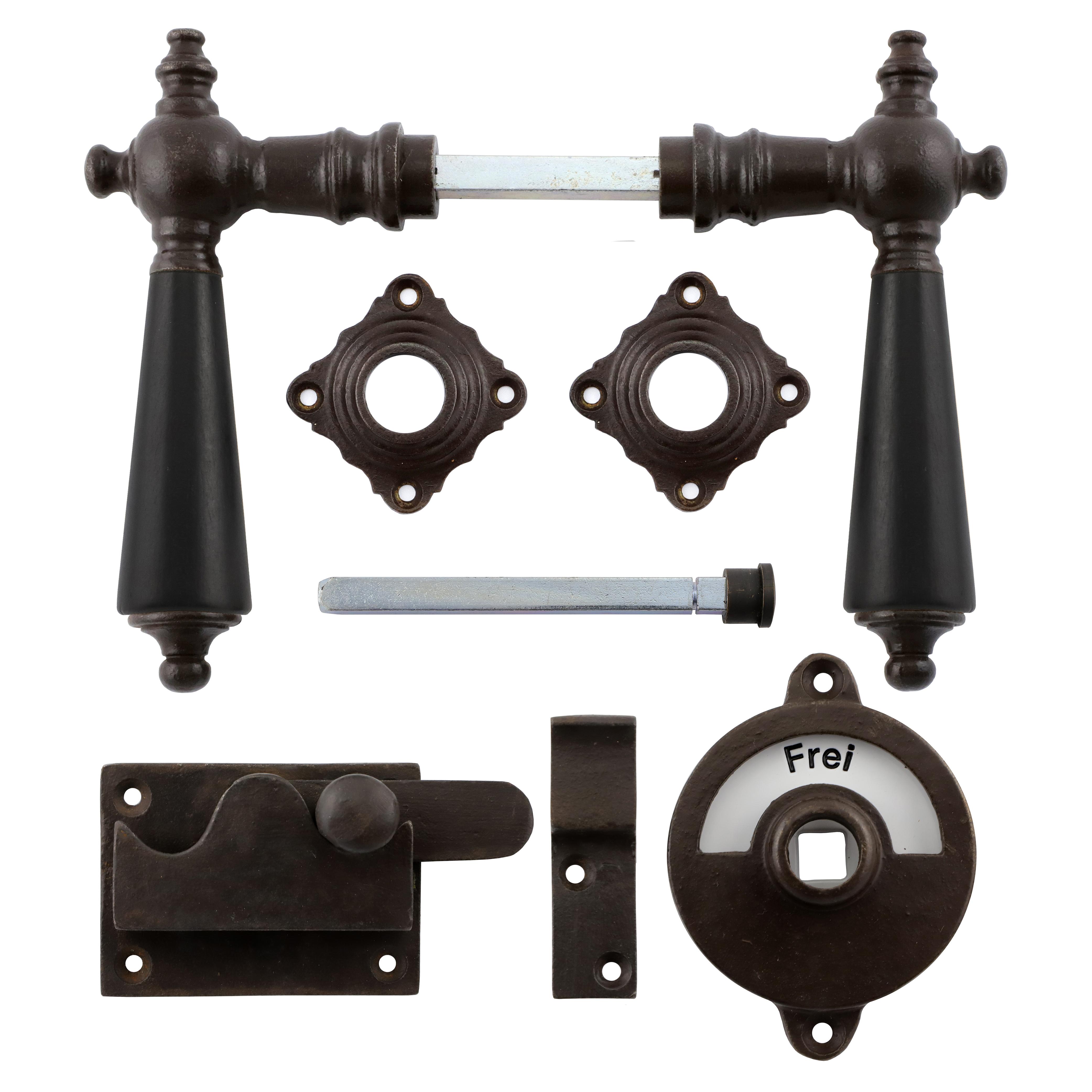 341.0033.60  WC-Türbeschlag / Riegel gerade / Verschluss mit Anzeige Eisen antik