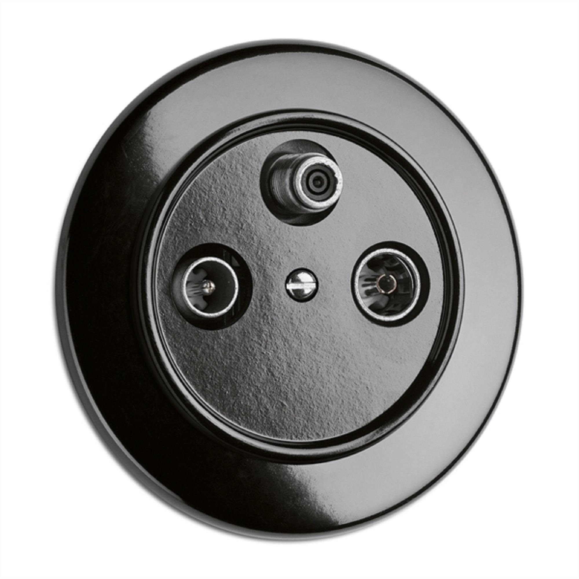Antennensteckdose SAT, Unterputz-Schaltersystem Bakelit schwarz mit runder Abdeckung