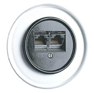 Datendose, Unterputz-Schaltersystem Glas mit Bakelit schwarz