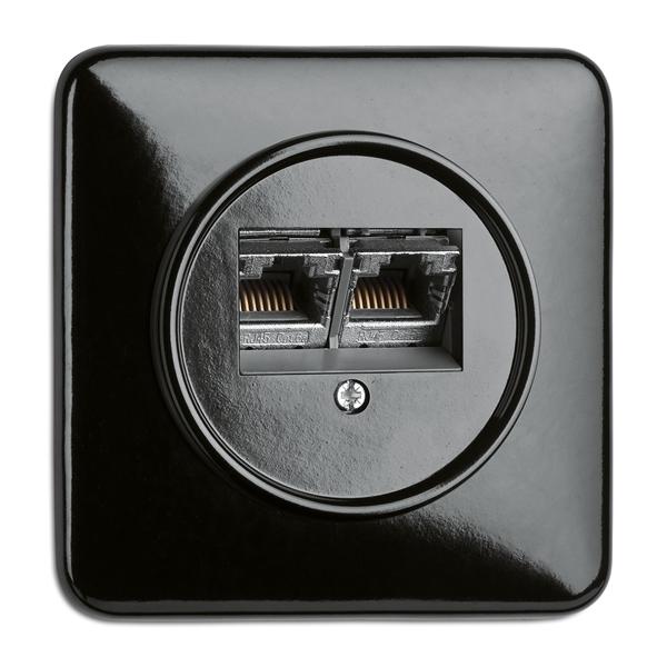 Datendose Bakelit, Unterputz-Schaltersystem schwarz mit eckiger Abdeckung