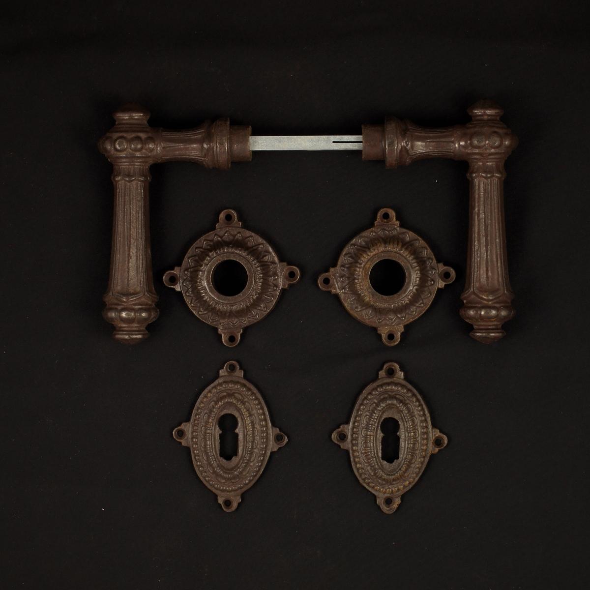 Haustür Rosettengarnitur - antike Türdrücker, Türklinken, Türbeschläge