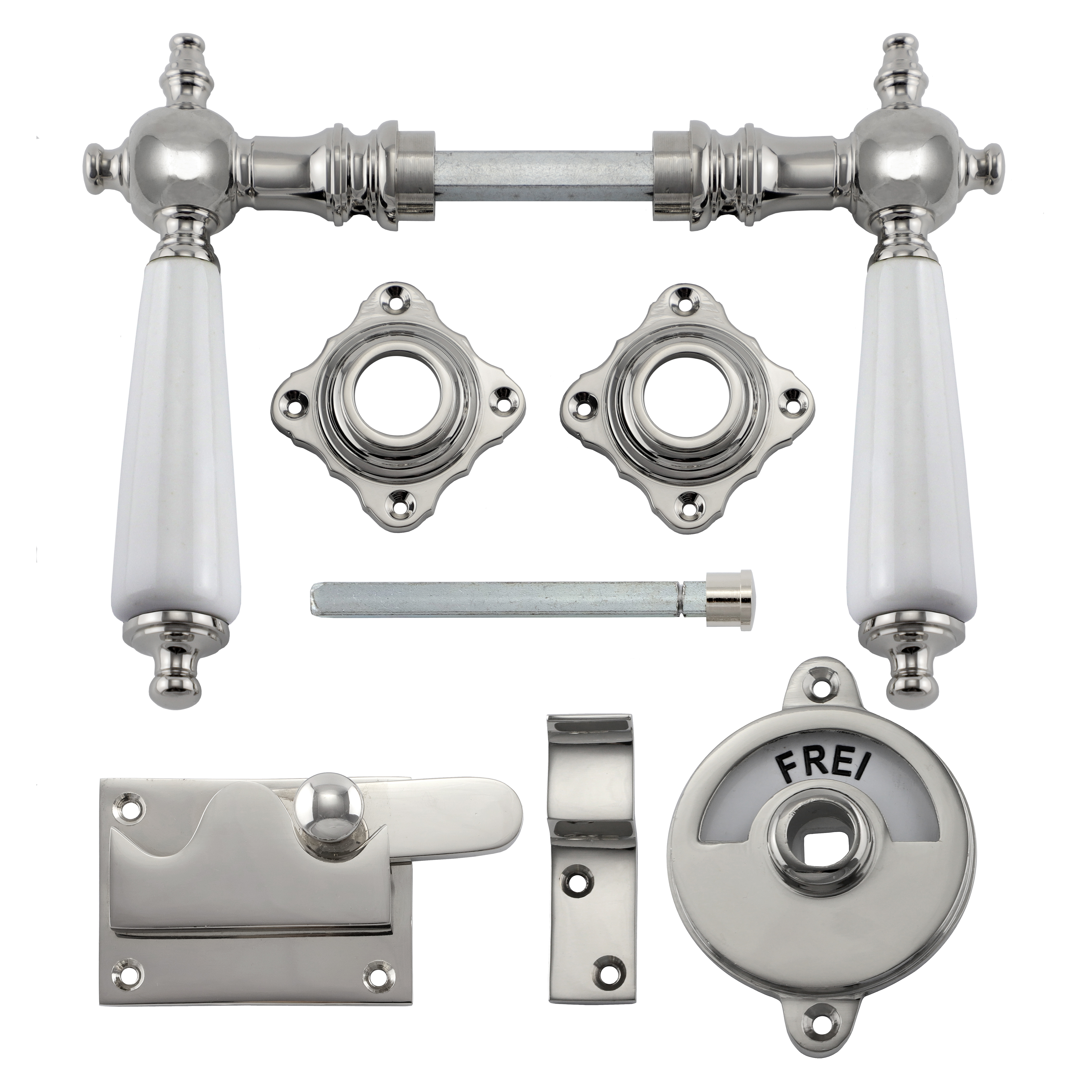 341.0020.10 WC-Türbeschlag / Riegel gerade / Verschluss mit Anzeige Messing vernickelt poliert