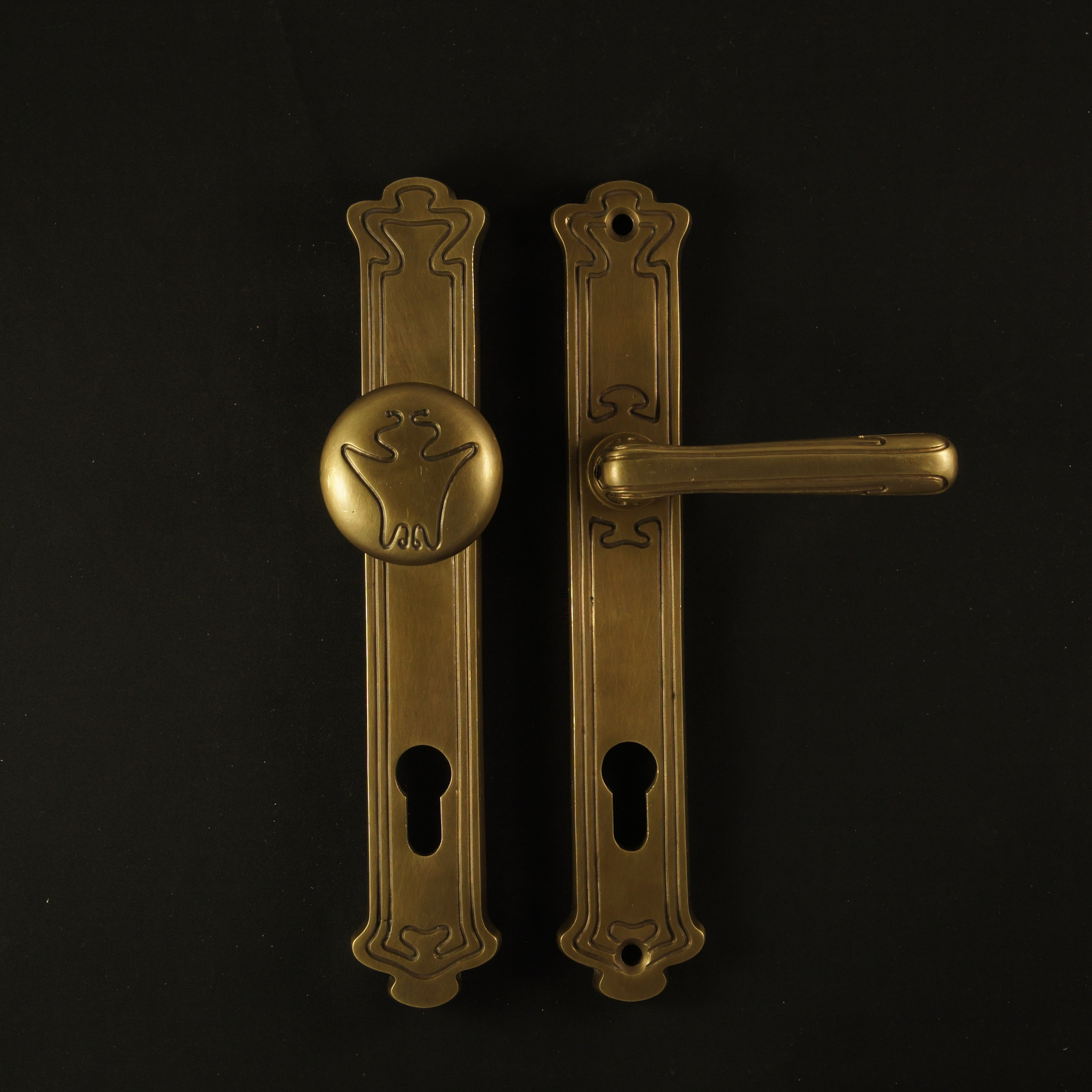 Haustür Langschildgarnitur im Jugendstil - antike Türdrücker, Türklinken, Türbeschläge