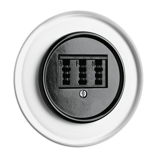 900.0003.GBS Telefonsteckdose, Unterputz-Schaltersystem Glas mit Bakelit schwarz