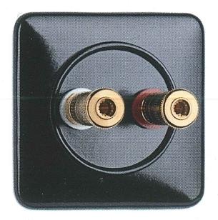 900.0002.BS Lautsprecheranschlußdose WBT Bakelit, Unterputz-Schaltersystem mit eckiger Abdeckung