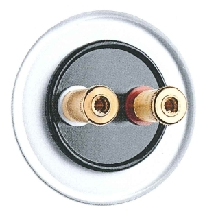 Lautsprecheranschlußdose WBT, Unterputz-Schaltersystem Glas mit Bakelit schwarz