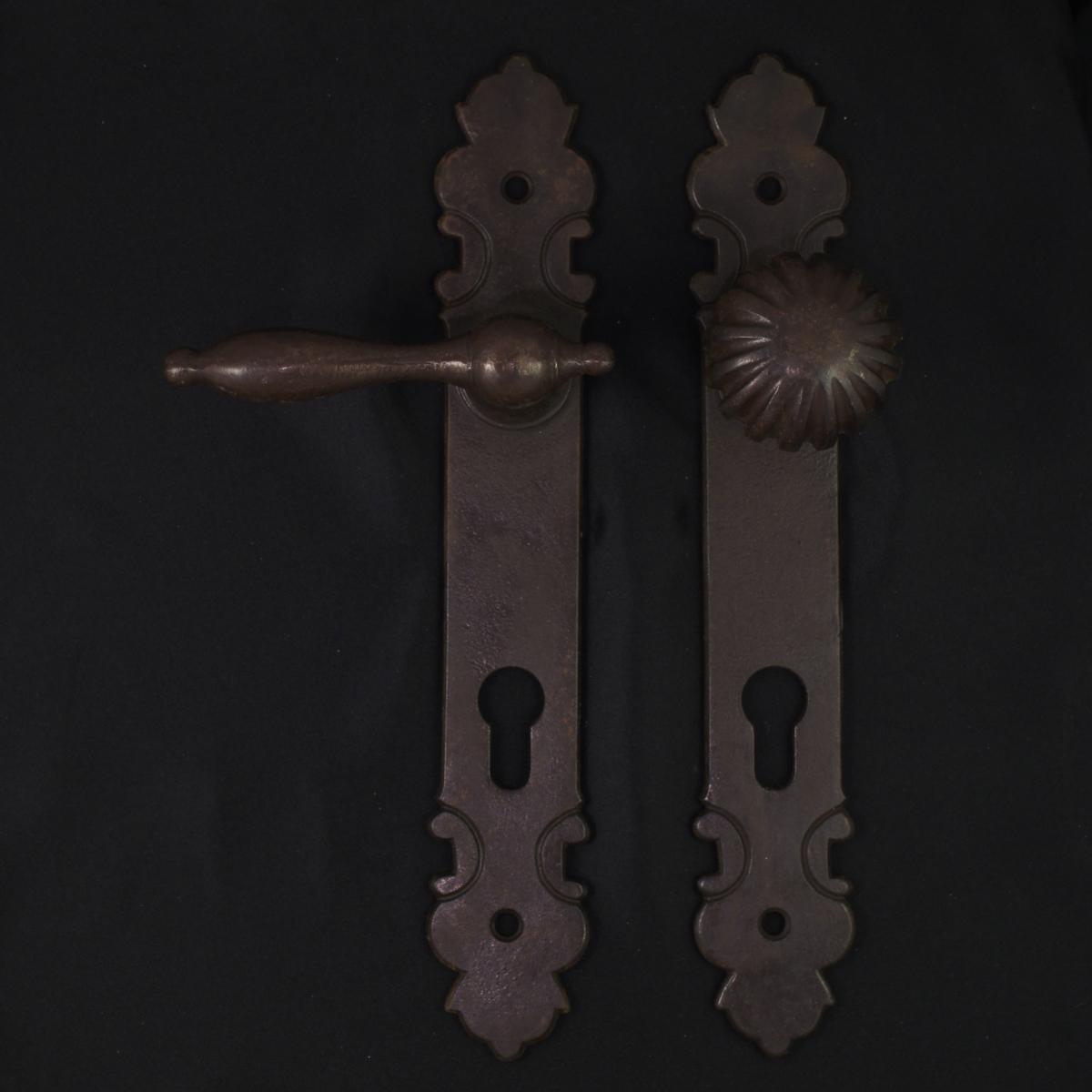 Haustür Langschildgarnitur - antike Türdrücker, Türklinken, Türbeschläge