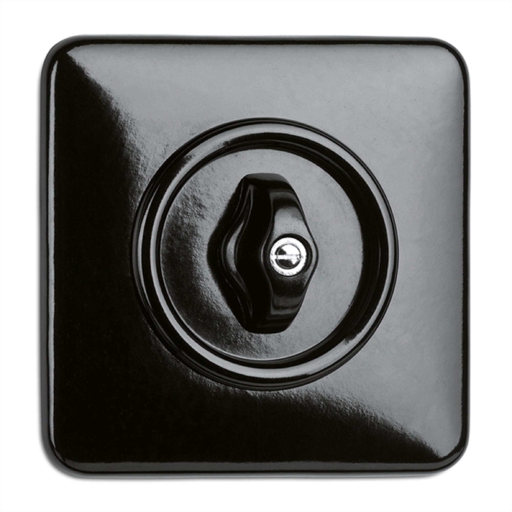 900.0014.BS Drehschalter Wechsel, Unterputz-Schaltersystem Bakelit schwarz mit eckiger Abdeckung