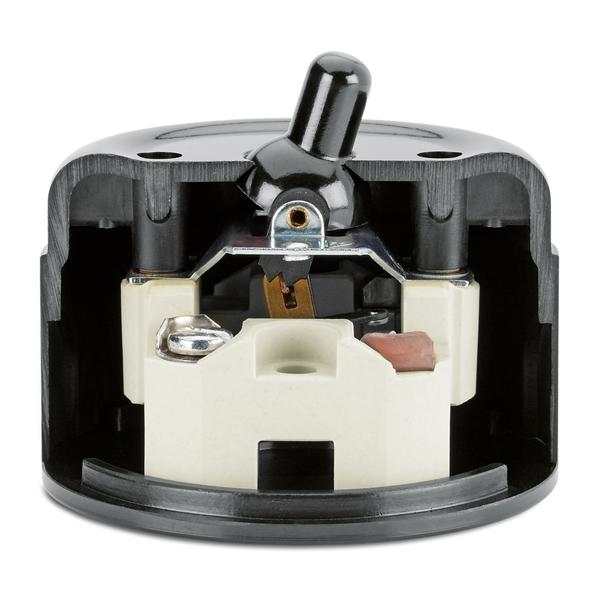 Kippschalter Wechsel, Aufputz-Schaltersystem IP20 Bakelit schwarz